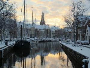 winter stadswandeling groningen